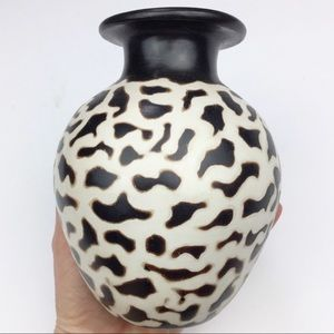 HANDMADE brown and white clay vase